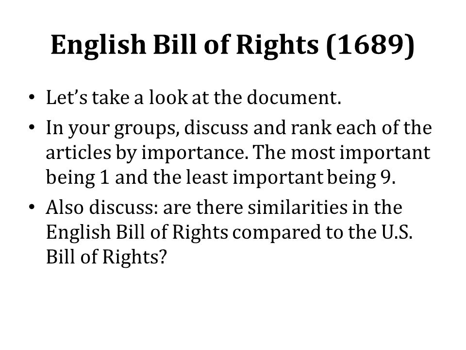English Bill of Rights (1689) Let's take a look at the document.