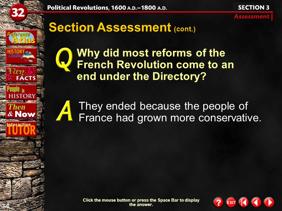 55 Section 3- Assessment 2 Click the mouse button or press the Space Bar to display the answer.