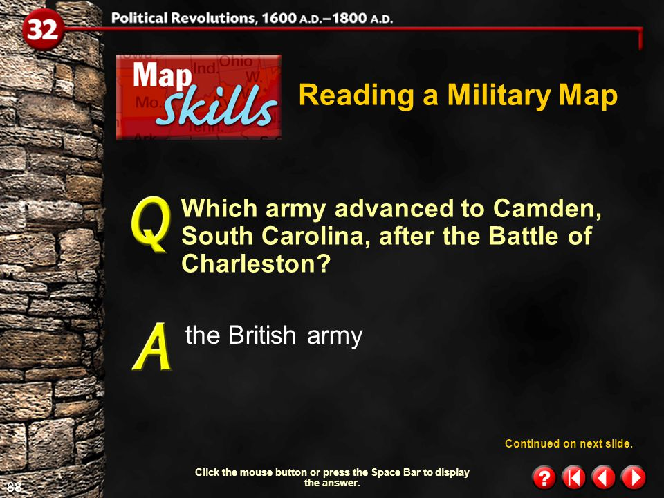 87 Map Skills 1.4 Reading a Military Map Which army won the battle at Saratoga, New York.