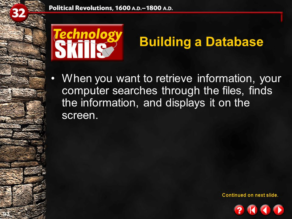 92 Technology Skills 1.3 Building a Database By using a database management system (DBMS)–special software developed for record keeping–you can easily add, delete, change, or update information.
