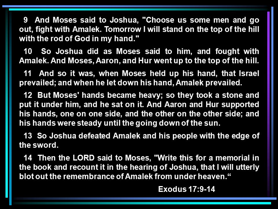 9 And Moses said to Joshua, Choose us some men and go out, fight with Amalek.