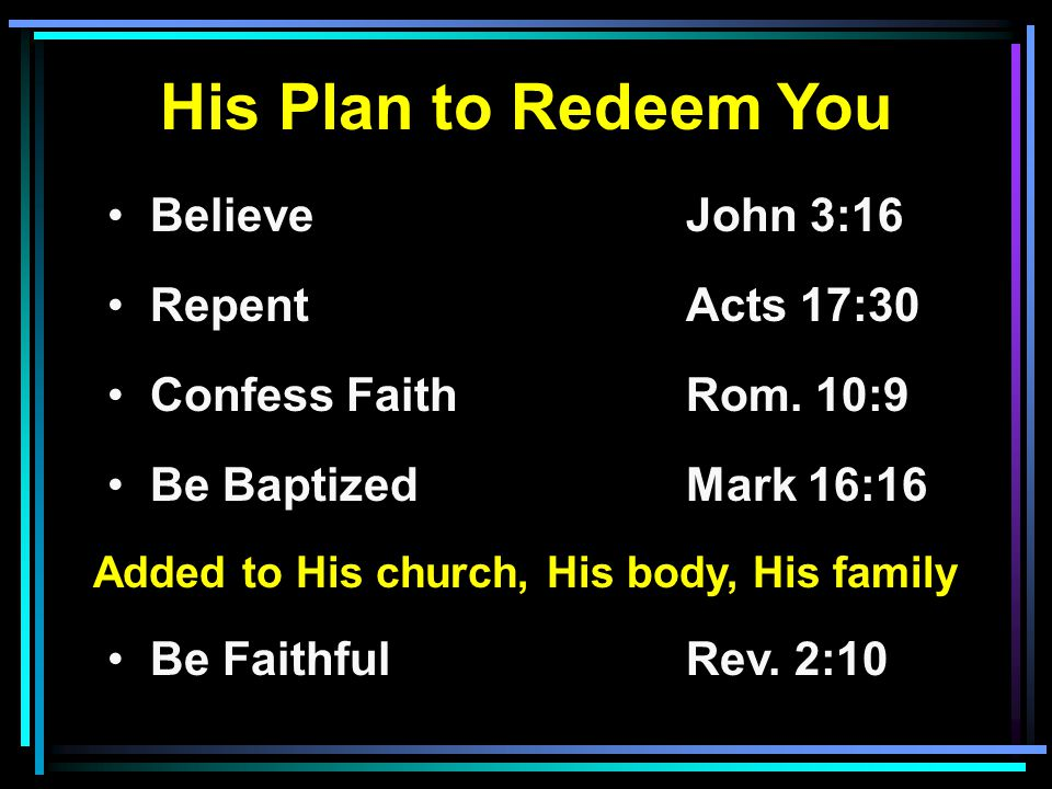 His Plan to Redeem You Believe John 3:16 RepentActs 17:30 Confess FaithRom.