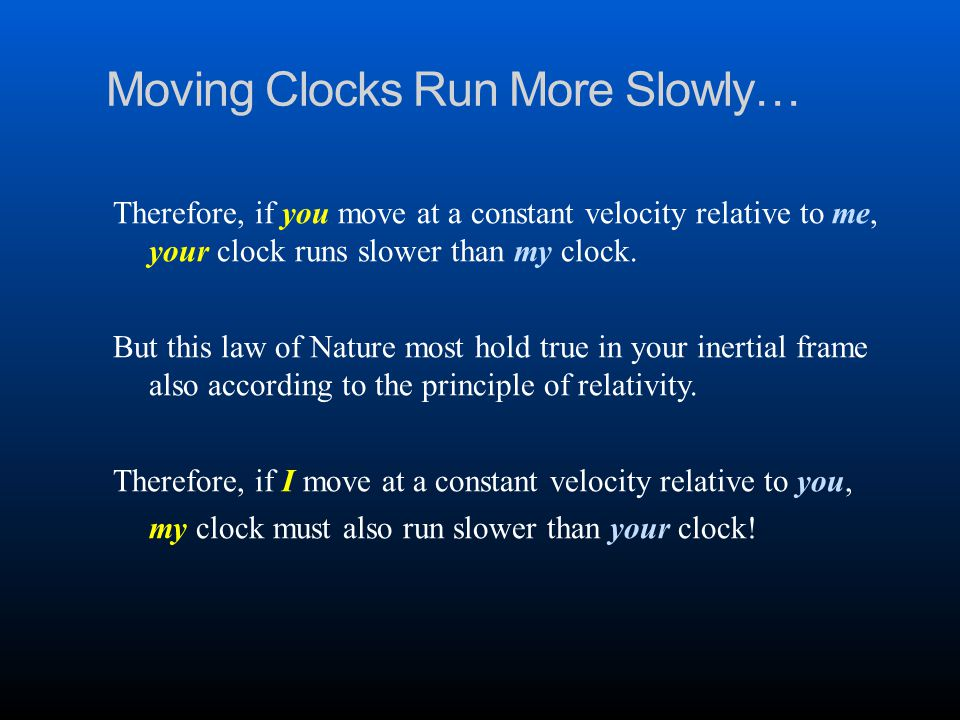 Moving Clocks Run More Slowly… Therefore, if you move at a constant velocity relative to me, your clock runs slower than my clock.
