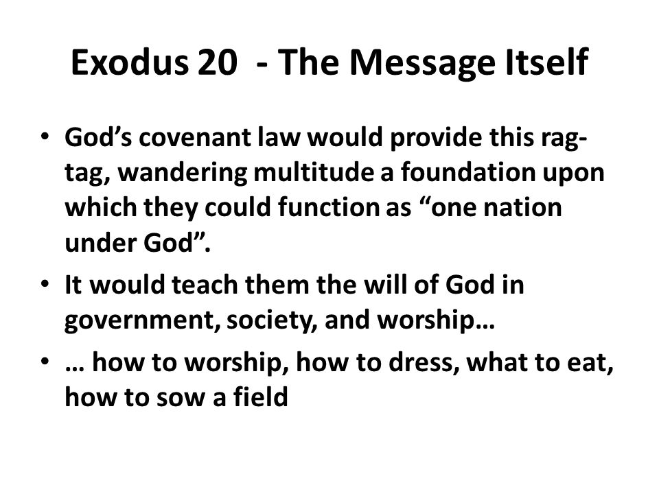 Exodus 20 - The Message Itself God's covenant law would provide this rag- tag, wandering multitude a foundation upon which they could function as one nation under God .