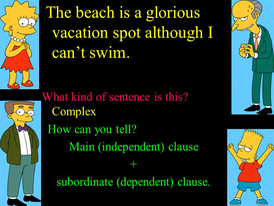 The beach is a glorious vacation spot although I can't swim. What kind of sentence is this? Simple Compound Complex ? How can you tell? + subordinate