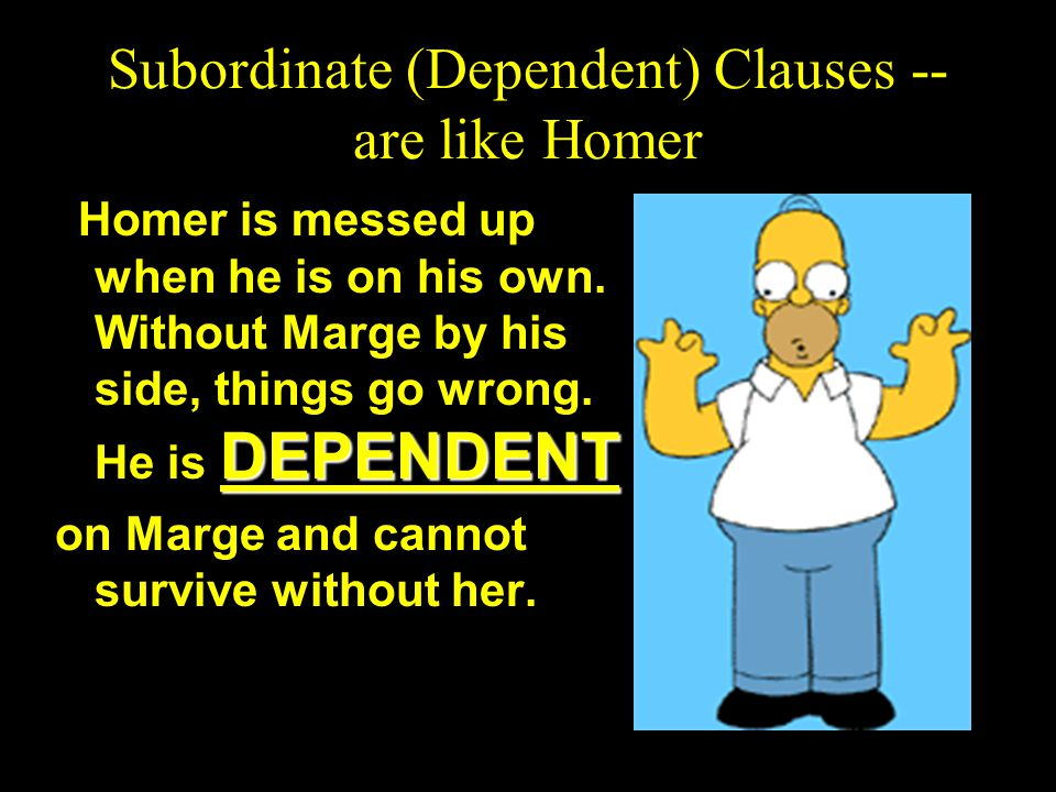 Compound Sentence Main (independent) clause, FANBOY main (independent) clause. Main (independent) clause ; main (independent) clause. Bart hates schoo