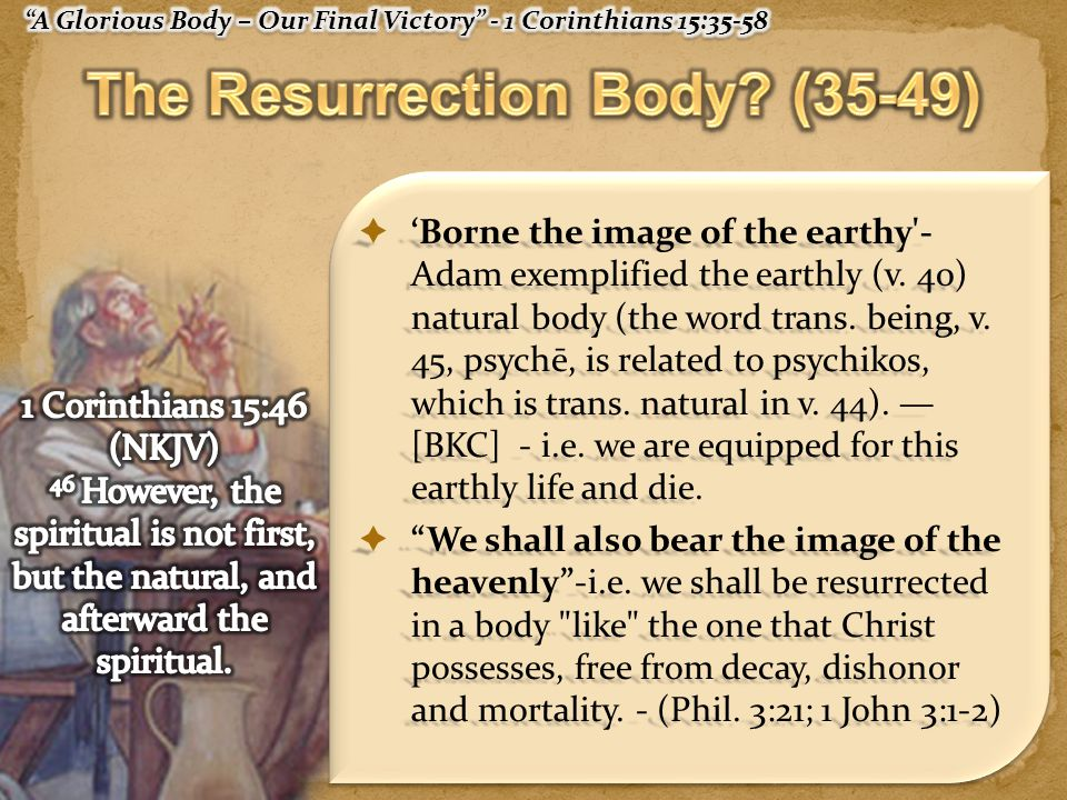  'Borne the image of the earthy - Adam exemplified the earthly (v.