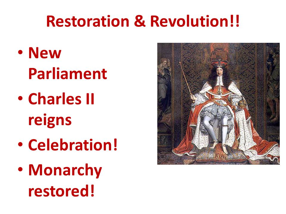1649 – abolished monarchy & established COMMONWEALTH = republican form of gov't Wrote 1 st modern English constitution BUT then destroyed it & became military dictator POWER HUNGRY!