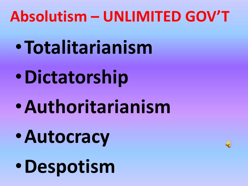 In a limited government there are restraints placed upon the power and authority of government In an unlimited government, individual rights and freedoms are curbed and citizens are expected to display total obedience to the government.