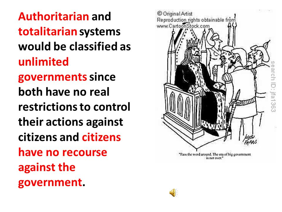 Absolutism – UNLIMITED GOV'T Totalitarianism Dictatorship Authoritarianism Autocracy Despotism
