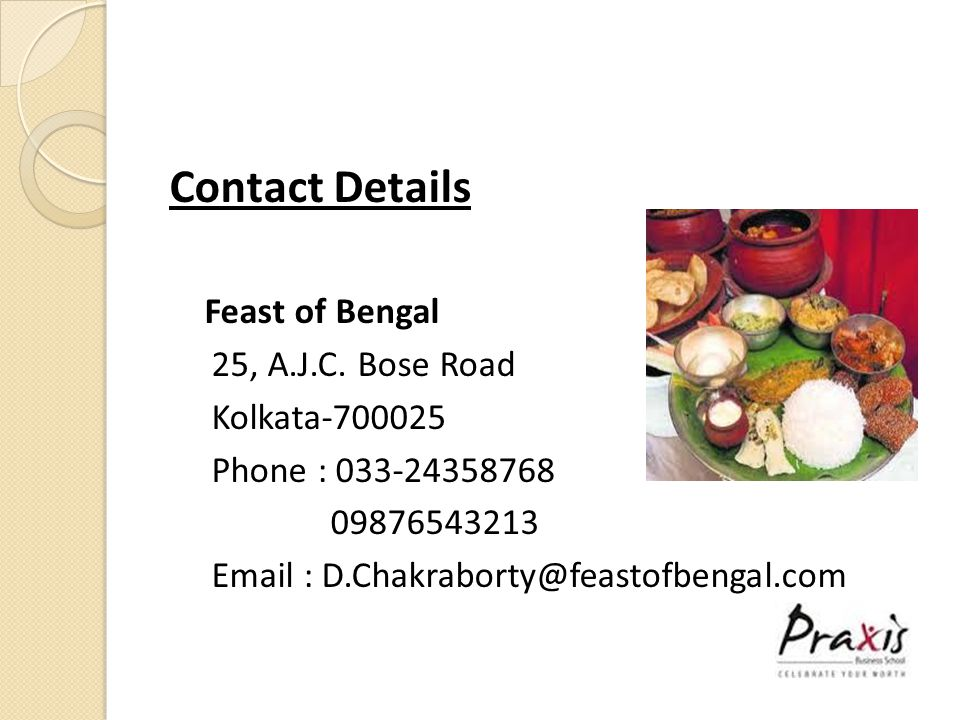 Contact Details Feast of Bengal 25, A.J.C.