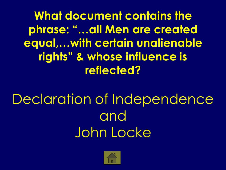 What document contains the phrase: …all Men are created equal,…with certain unalienable rights & whose influence is reflected.