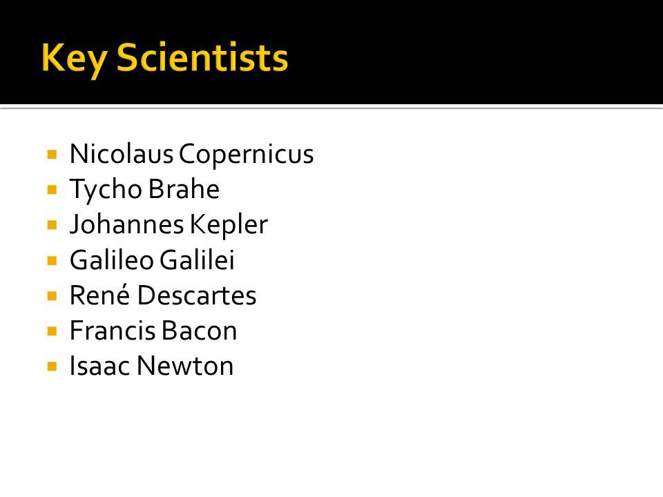  Nicolaus Copernicus  Tycho Brahe  Johannes Kepler  Galileo Galilei  René Descartes  Francis Bacon  Isaac Newton