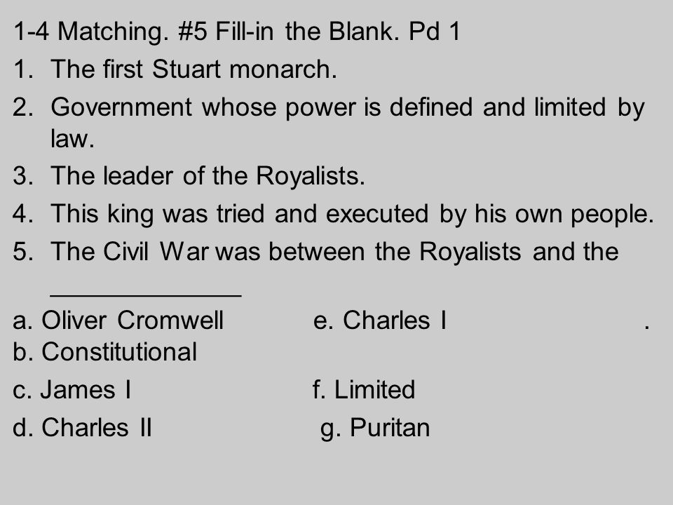 English Problems The problems in England revolved around power struggles between Parliament and the monarchy.