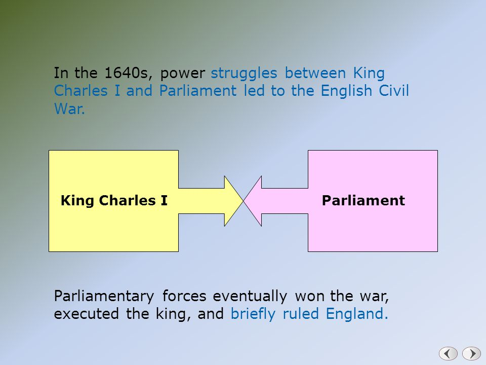 In the 1640s, power struggles between King Charles I and Parliament led to the English Civil War. Parliamentary forces eventually won the war, execute