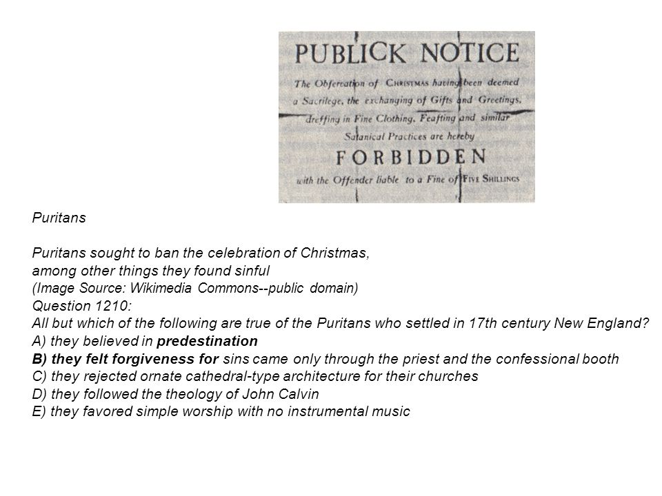 Puritans Puritans sought to ban the celebration of Christmas, among other things they found sinful (Image Source: Wikimedia Commons--public domain) Question 1210: All but which of the following are true of the Puritans who settled in 17th century New England.