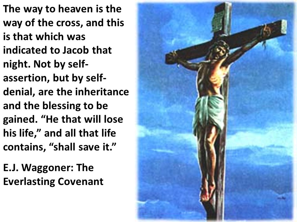 The way to heaven is the way of the cross, and this is that which was indicated to Jacob that night. Not by self- assertion, but by self- denial, are
