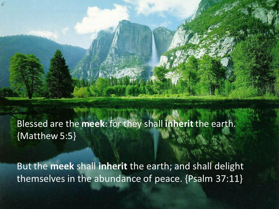 Blessed are the meek: for they shall inherit the earth. {Matthew 5:5} But the meek shall inherit the earth; and shall delight themselves in the abunda