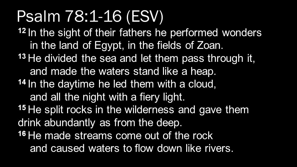 Psalm 78:1-16 (ESV) 12 In the sight of their fathers he performed wonders in the land of Egypt, in the fields of Zoan.