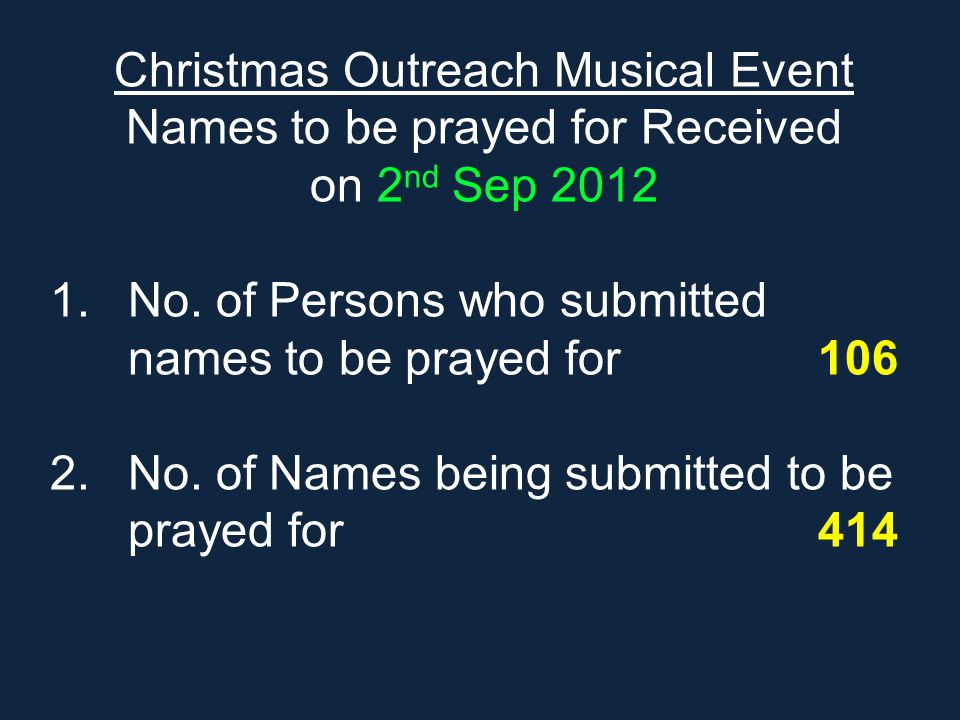 Christmas Outreach Musical Event Names to be prayed for Received on 2 nd Sep 2012 1.No. of Persons who submitted names to be prayed for 106 2.No. of N