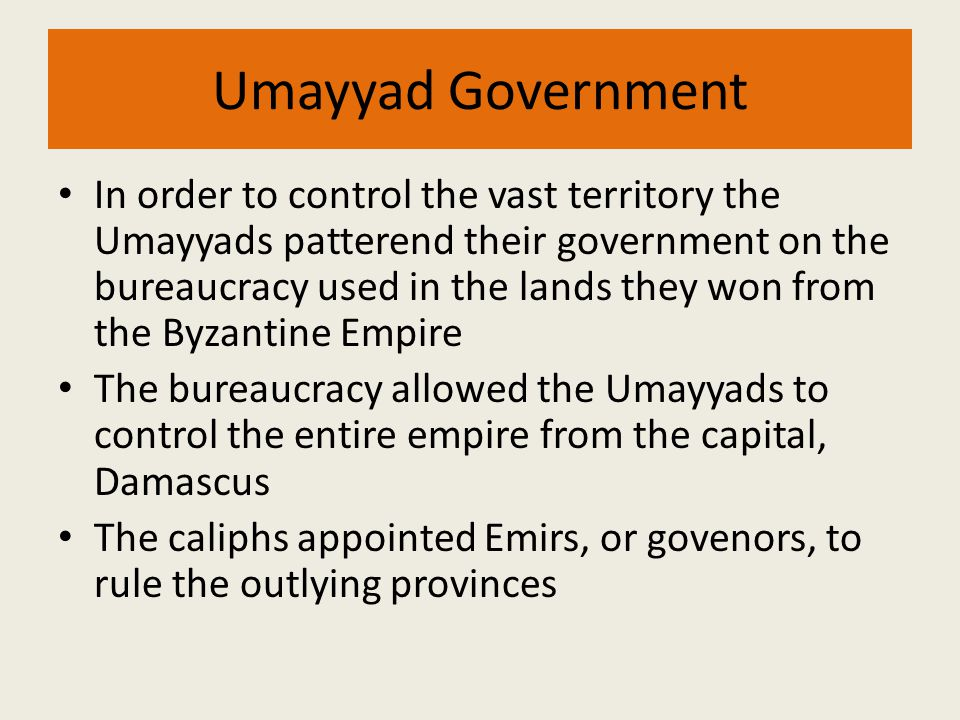 Umayyad Government In order to control the vast territory the Umayyads patterend their government on the bureaucracy used in the lands they won from t