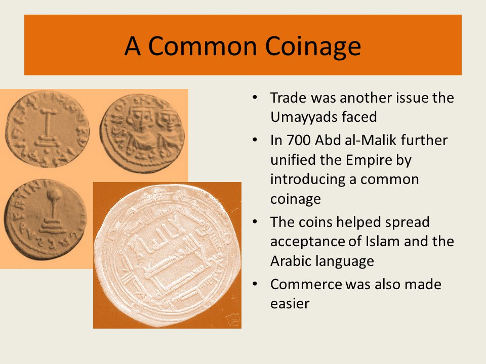 A Common Coinage Trade was another issue the Umayyads faced In 700 Abd al-Malik further unified the Empire by introducing a common coinage The coins h