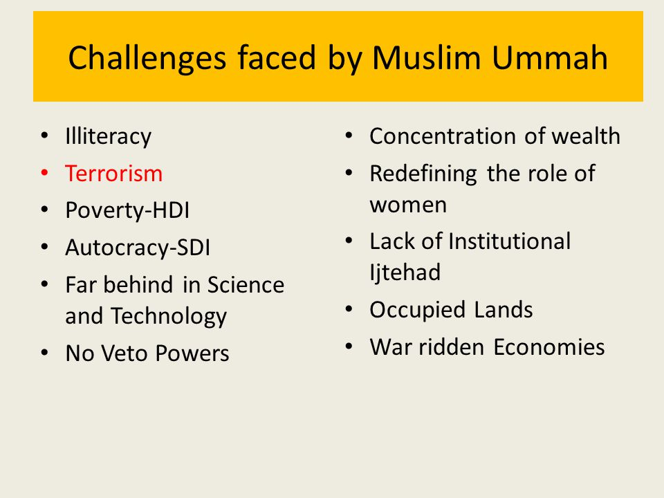 Challenges faced by Muslim Ummah Illiteracy Terrorism Poverty-HDI Autocracy-SDI Far behind in Science and Technology No Veto Powers Concentration of w