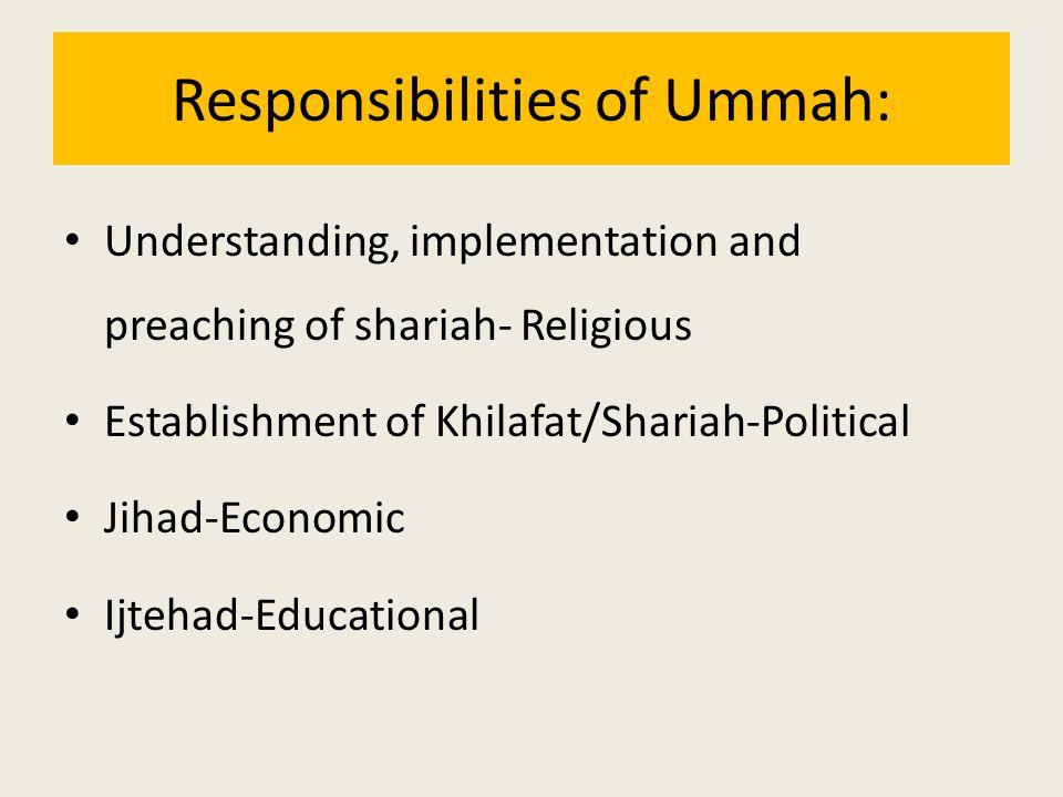 Responsibilities of Ummah: Understanding, implementation and preaching of shariah- Religious Establishment of Khilafat/Shariah-Political Jihad-Economi