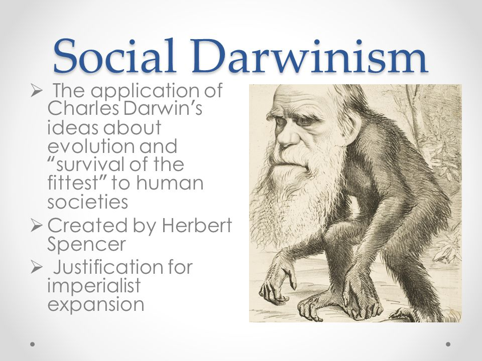 "Social Darwinism  The application of Charles Darwin's ideas about evolution and ""survival of the fittest"" to human societies  Created by Herbert Spe"