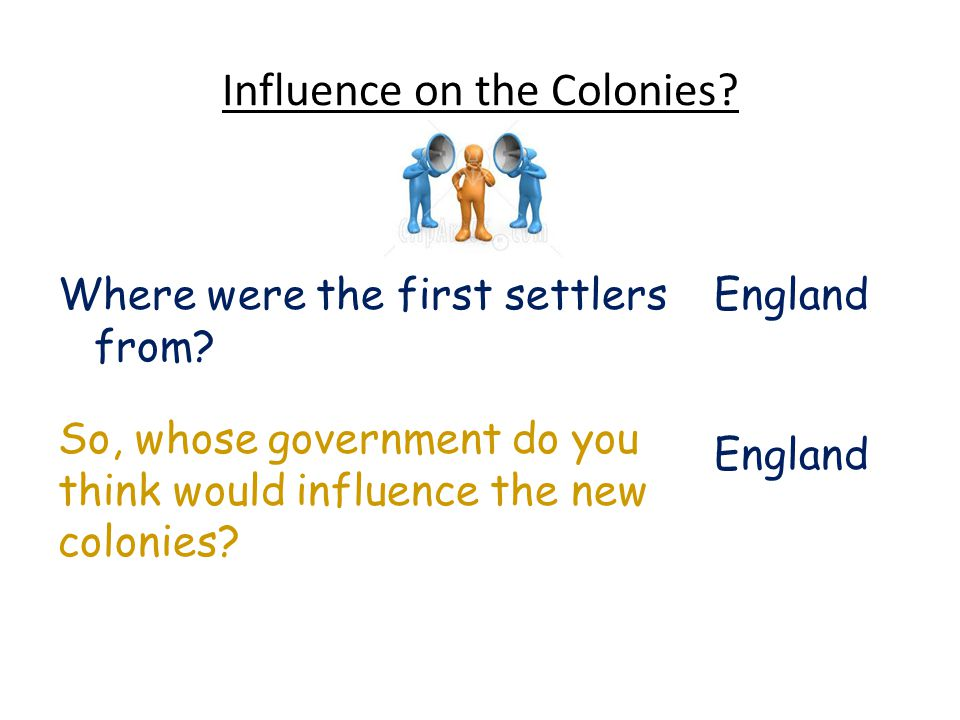 Influence on the Colonies. EnglandWhere were the first settlers from.