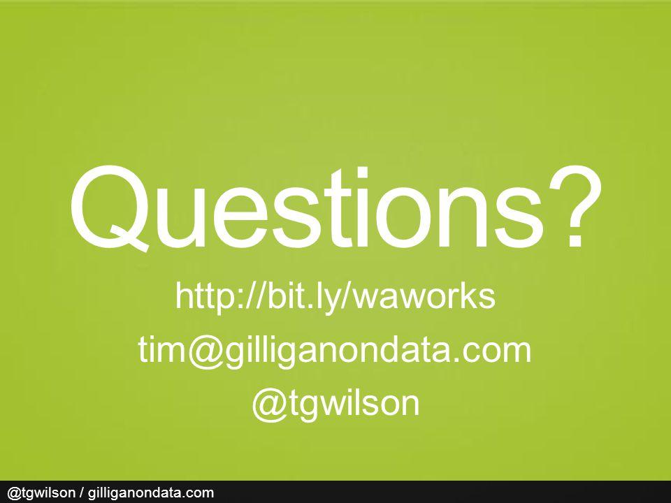 @tgwilson / gilliganondata.com Questions http://bit.ly/waworks tim@gilliganondata.com @tgwilson