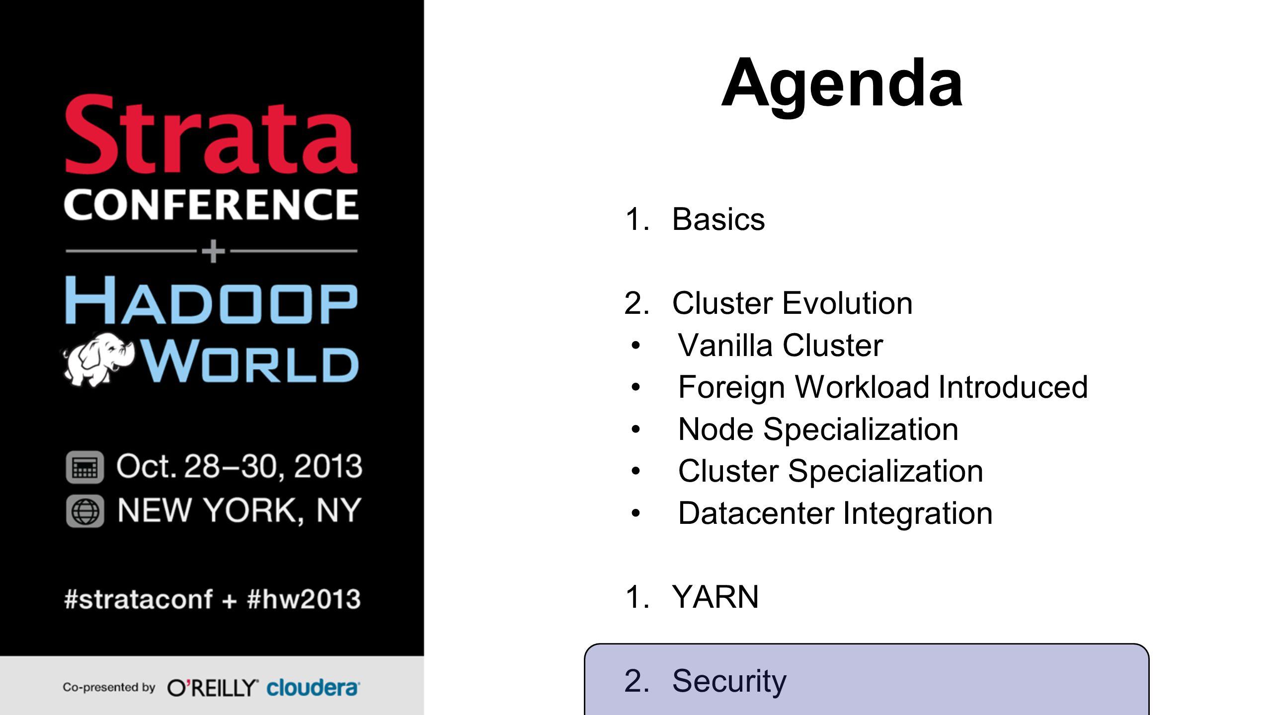 Agenda 1.Basics 2.Cluster Evolution Vanilla Cluster Foreign Workload Introduced Node Specialization Cluster Specialization Datacenter Integration 1.YARN 2.Security