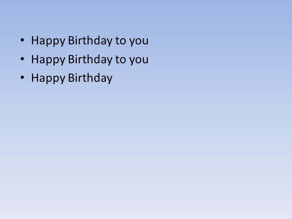 Happy Birthday to you Happy Birthday