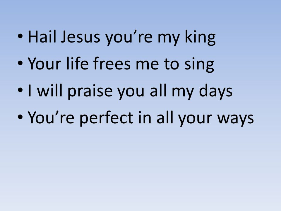 Hail Jesus you're my king Your life frees me to sing I will praise you all my days You're perfect in all your ways