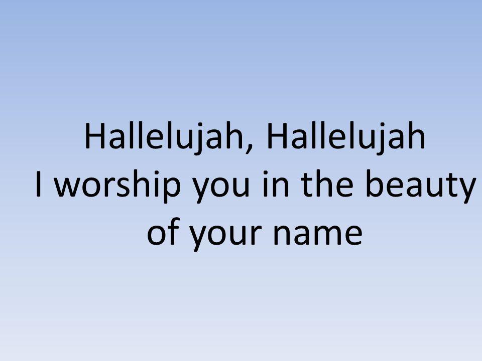 Hallelujah, Hallelujah I worship you in the beauty of your name