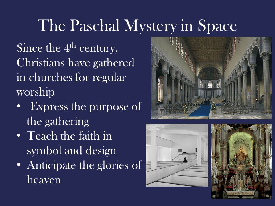 The Paschal Mystery in Space Since the 4 th century, Christians have gathered in churches for regular worship Express the purpose of the gathering Teach the faith in symbol and design Anticipate the glories of heaven