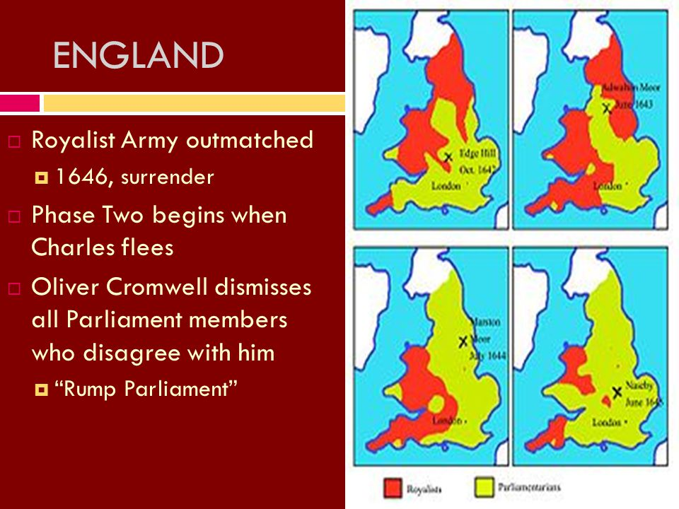 ENGLAND RRoyalist Army outmatched 11646, surrender PPhase Two begins when Charles flees OOliver Cromwell dismisses all Parliament members who