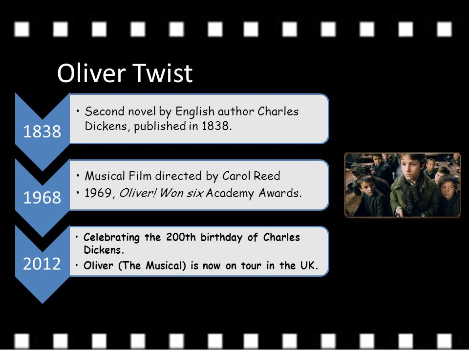 Oliver Twist 1838 Second novel by English author Charles Dickens, published in 1838. 1968 Musical Film directed by Carol Reed 1969, Oliver! Won six Ac