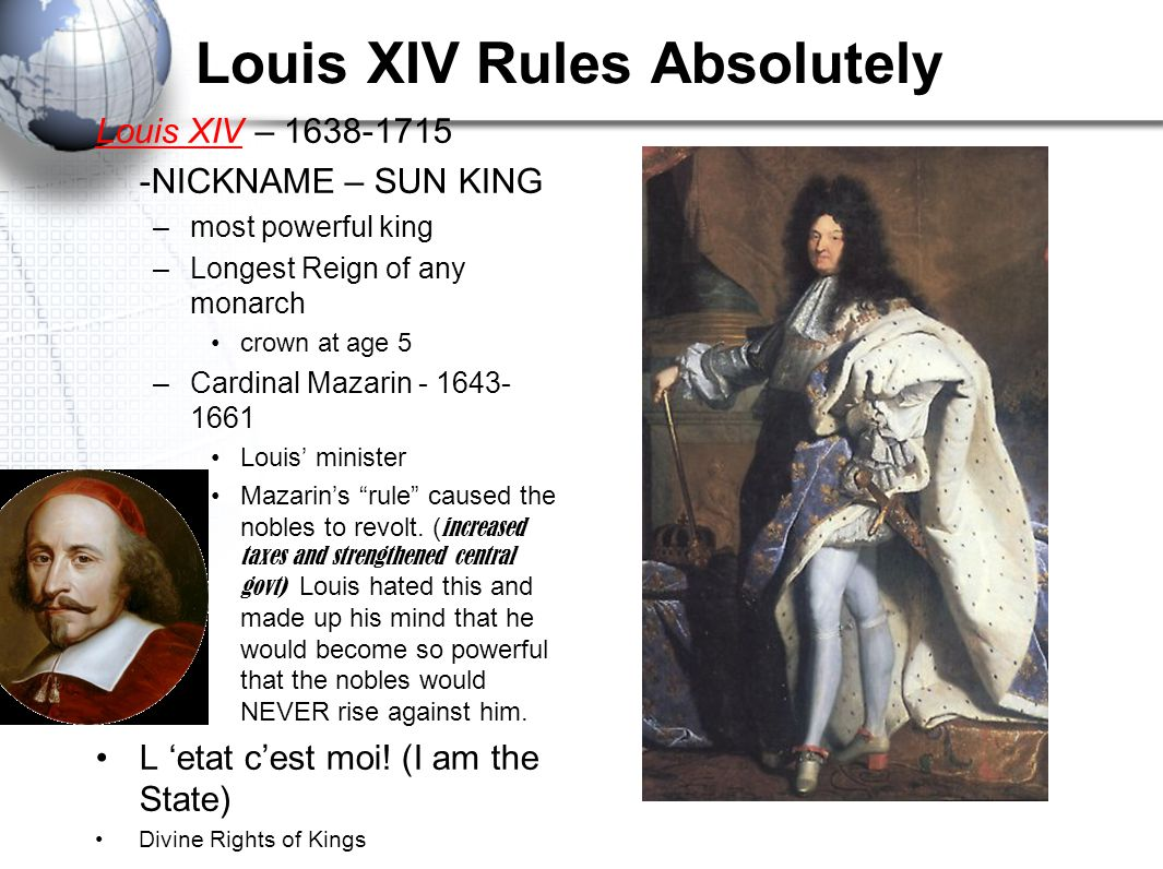 """Louis XIV said """"I am the state""""- explain what he meant by this statement Compare Cardinal Richelieu and Cardinal Mazarin. What is one issue/view they"""