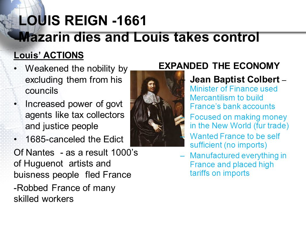 Louis XIV Rules Absolutely Louis XIV – 1638-1715 -NICKNAME – SUN KING –most powerful king –Longest Reign of any monarch crown at age 5 –Cardinal Mazar