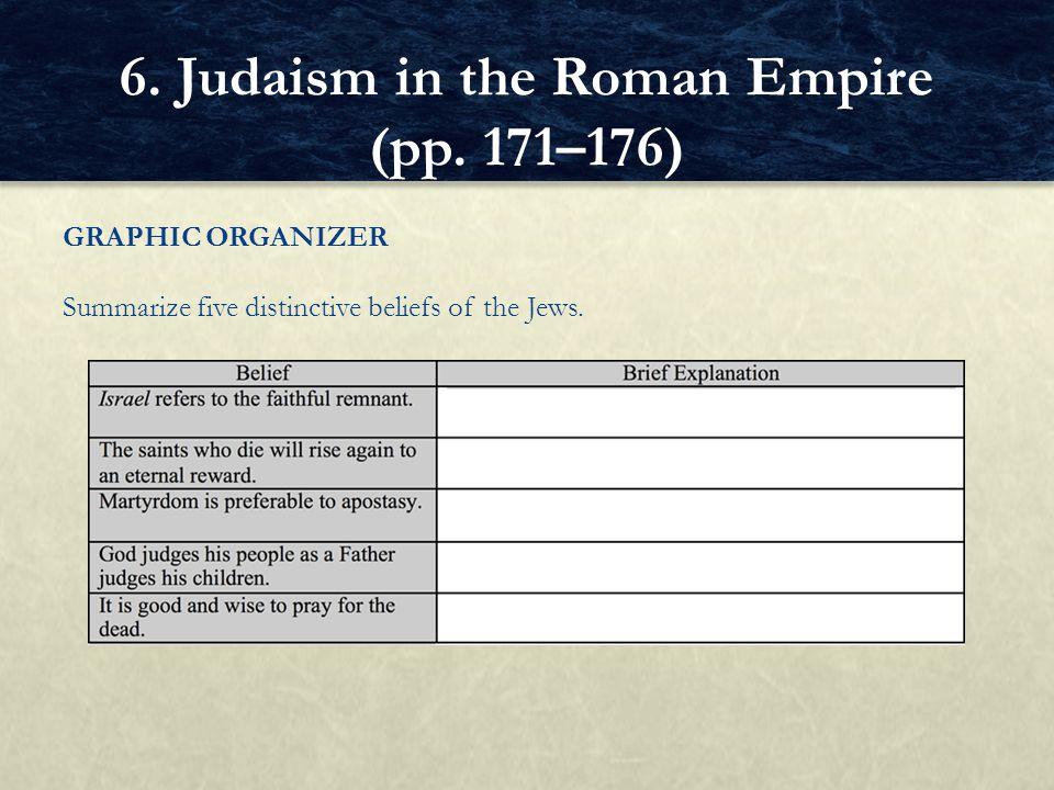 GRAPHIC ORGANIZER Summarize five distinctive beliefs of the Jews. 6. Judaism in the Roman Empire (pp. 171–176)