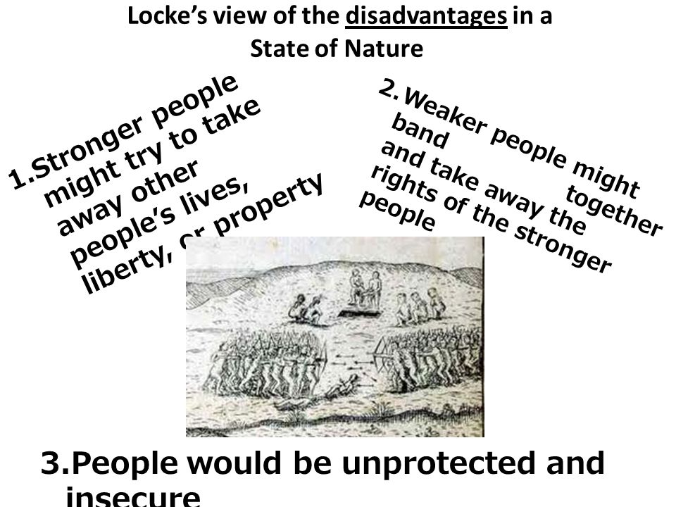 Locke's view of the disadvantages in a State of Nature 1.Stronger people might try to take away other people's lives, liberty, or property 2.Weaker pe