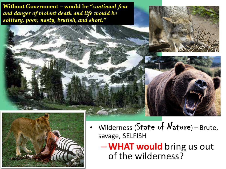 """Wilderness ( State of Nature ) – Brute, savage, SELFISH – WHAT would bring us out of the wilderness? Without Government – would be """"continual fear and"""