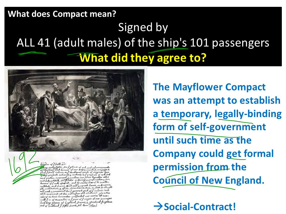 The Mayflower Compact was an attempt to establish a temporary, legally-binding form of self-government until such time as the Company could get formal