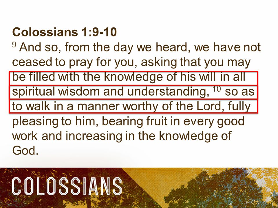 Colossians 1: And so, from the day we heard, we have not ceased to pray for you, asking that you may be filled with the knowledge of his will in all spiritual wisdom and understanding, 10 so as to walk in a manner worthy of the Lord, fully pleasing to him, bearing fruit in every good work and increasing in the knowledge of God.