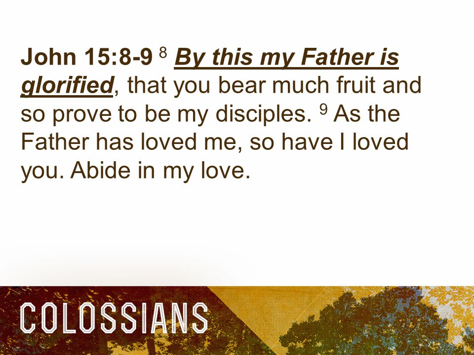 John 15:8-9 8 By this my Father is glorified, that you bear much fruit and so prove to be my disciples.