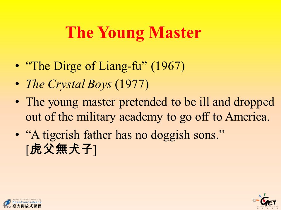 The Dirge of Liang-fu (1967) The Crystal Boys (1977) The young master pretended to be ill and dropped out of the military academy to go off to America.