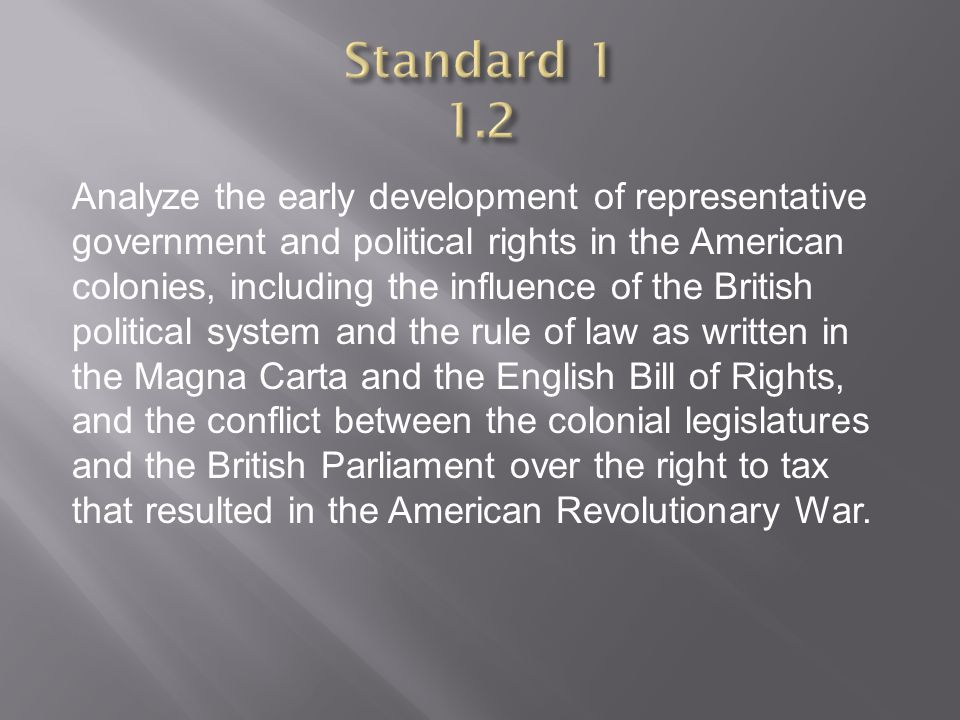 Analyze the early development of representative government and political rights in the American colonies, including the influence of the British polit