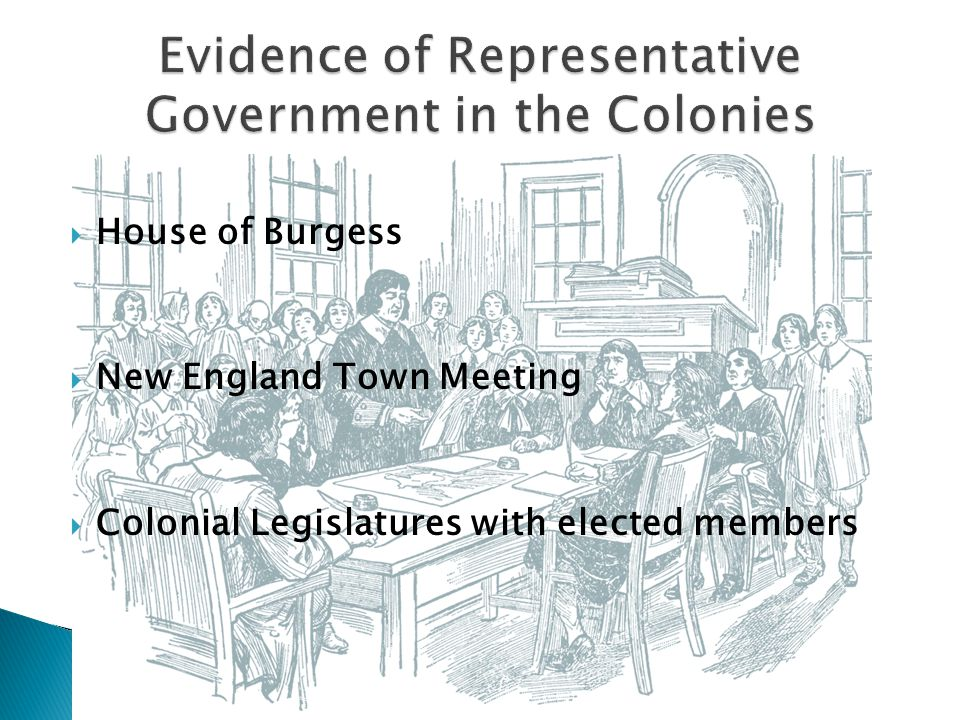  House of Burgess  New England Town Meeting  Colonial Legislatures with elected members