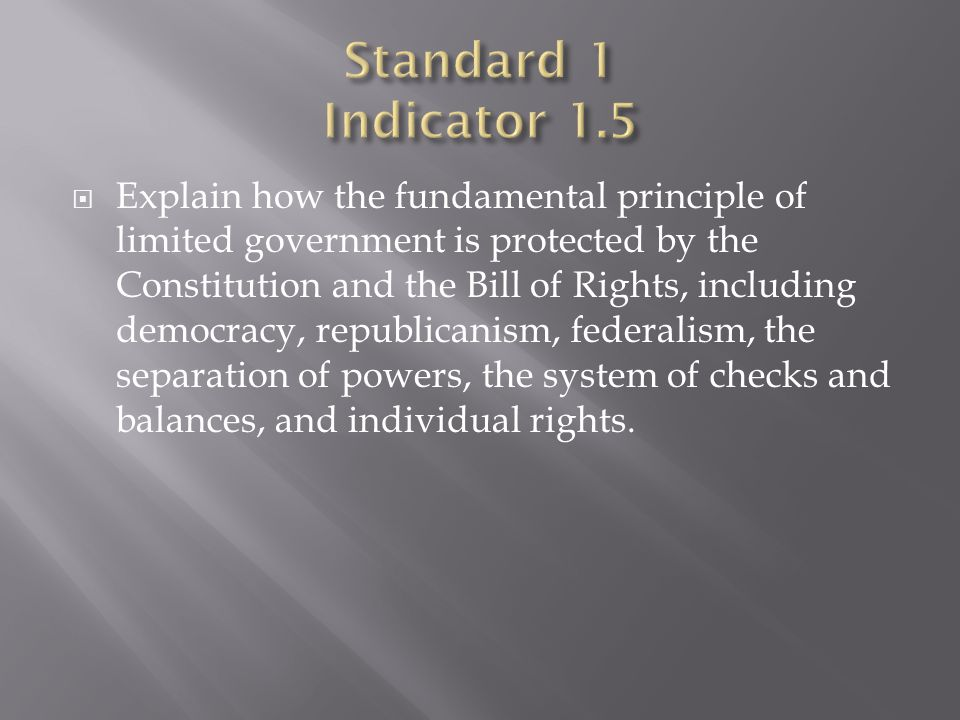  Explain how the fundamental principle of limited government is protected by the Constitution and the Bill of Rights, including democracy, republicanism, federalism, the separation of powers, the system of checks and balances, and individual rights.